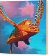 When Turtles Fly Wood Print