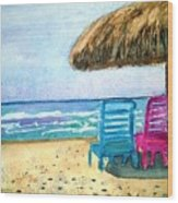 Peaceful Day At The Beach Wood Print