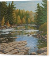 Where The River Flows Wood Print