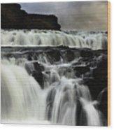 Where The Water Falls Wood Print