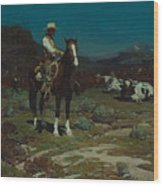 While Trail-weary Cattle Are Sleeping  Wood Print