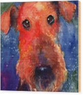 Whimsical Airedale Dog Painting Wood Print