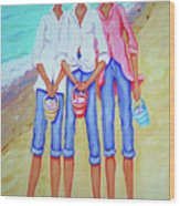 Whimsical Beach Women - The Treasure Hunters Wood Print