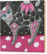 Whimsical Black Pink Floral Kitty Cat Wood Print
