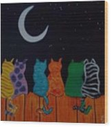 Whimsical Cats Wood Print