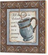 Whimsical Coffee 1 Wood Print by Debbie DeWitt