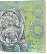 Whimsical Manatee Wood Print