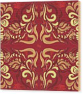 Whimsical Organic Pattern In Yellow And Red I Wood Print