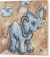 Whimsical Pop Art Childrens Nursery Original Elephant Painting Adorable By Madart Wood Print