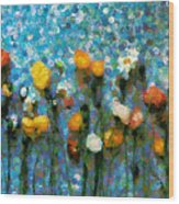 Whimsical Poppies On The Blue Wall Wood Print