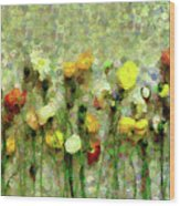 Whimsical Poppies On The Wall Wood Print