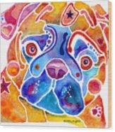 Whimsical Pug Dog Wood Print by Jo Lynch