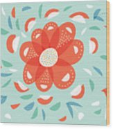 Whimsical Red Flower Wood Print