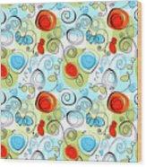 Whimsical Seamless Pattern Wood Print