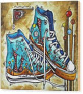 Whimsical Shoes By Madart Wood Print