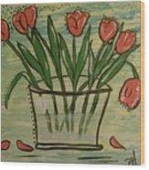 Whimsical Tulips Wood Print