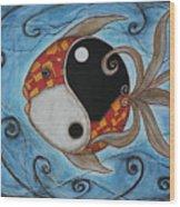 Whimsy Fish 3 Yin And Yang Wood Print