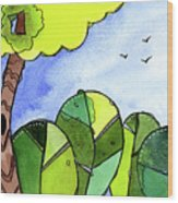 Whimsy Trees Wood Print