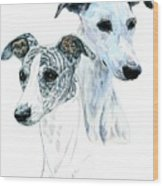 Whippet Pair Wood Print