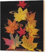 Whirling Autumn Leaves Wood Print