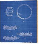 Whiskey Barrel Patent 1968 In Blue Print Wood Print