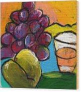 Whiskey  Pear  Grapes Wood Print