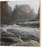 Whiskey River - Foggy Fall Waterscape Wood Print