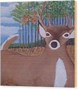 Whit Tall Buck Wood Print