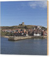 Whitby Harbour With Abbey Ruins Wood Print