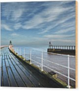 Whitby Piers Wood Print