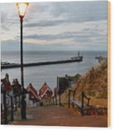 Whitby Steps Blue Hour Wood Print