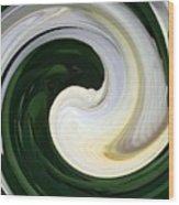 White And Green Swirls Wood Print