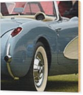 White And Light Blue Corvette Wood Print