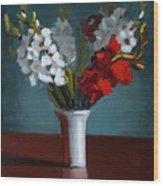 White And Red Gladioli Wood Print