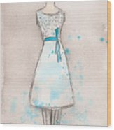 White And Teal Dress Wood Print