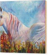 White Arabian Horse Wood Print