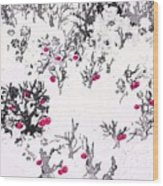 White As Snow With Cherries Wood Print