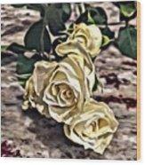 White Baby Roses Wood Print
