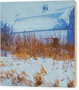 White Barn In Snowstorm Wood Print