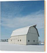 White Barn With Snow Wood Print