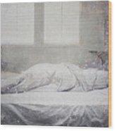 White Bed Sheet- Warmth Wood Print