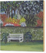 White Bench In Colorful Garden Wood Print