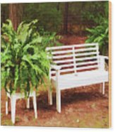 White Bench Sitting In A Beautiful Garden 2 Wood Print