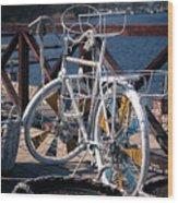 White Bike Wood Print