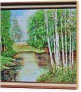 White Birch On The Lake Wood Print