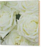 White Blooming Roses Wood Print