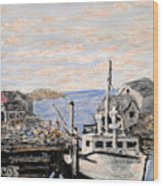 White Boat In Peggys Cove Nova Scotia Wood Print
