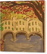 White Bridge In The Woods Wood Print by Marie Bulger