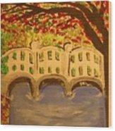 White Bridge In The Woods Wood Print