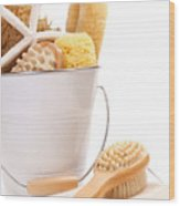 White Bucket Filled With Sponges And Scrub Brushes  Wood Print